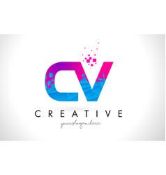 Cv c v letter logo with shattered broken blue vector