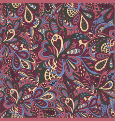 Doodle floral seamless pattern burgundy and green vector