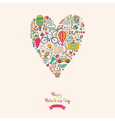 Doodles heart valentines day card Kids travel vector