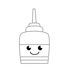Dotted shape happy and tender glue object kawaii vector