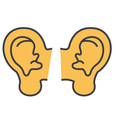 Ears concept line icon editable stroke vector