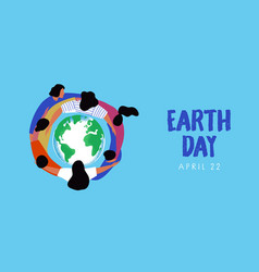 earth day people friend circle hug planet banner vector image