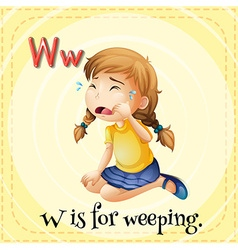 Flashcard letter W is for weeping vector