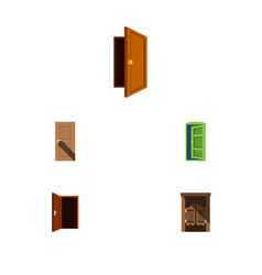 flat icon door set of saloon approach entry and vector image
