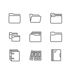 folder flat line icons document file vector image