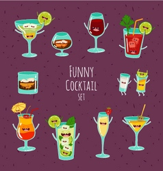 Funny cocktail set vector