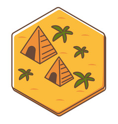 game tile or card with pyramids and palms vector image
