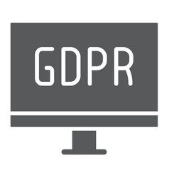gdpr monitor glyph icon computer and screen vector image