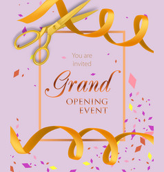 Grand opening event lettering with yellow ribbons vector