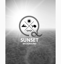 Gray sunset with black water sea surface vector