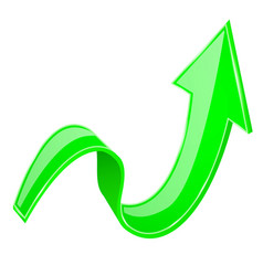 Green 3d up arrow vector