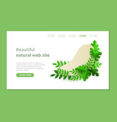 Green eco plants around the shape on the web site vector