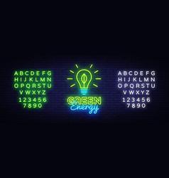 green energy neon sign eco energy design vector image