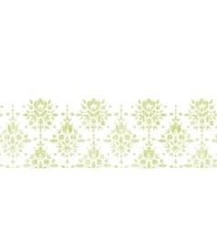 Green textile damask flower horizontal border vector