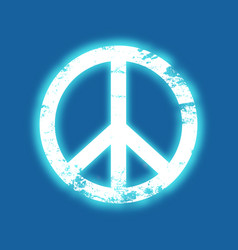 Grunge peace symbol with a blue neon glow vintage vector