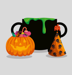 Halloween card with cauldron and pumkin vector