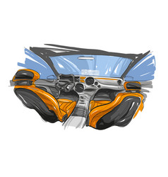 Hand drawn automobile interior vector
