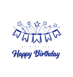 happy birthday congratulations with flags on vector image