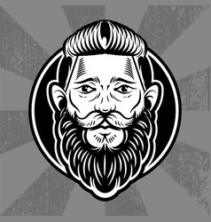 Hipster face man vector