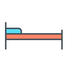 hotel bed line icon simple minimal pictogram vector image