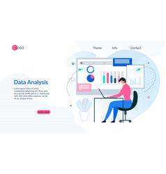 Landing page presents effective data analysis app vector