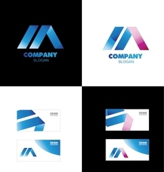 Letter A blue pink logo vector image