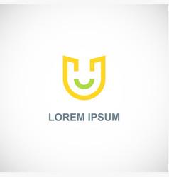letter u line company logo vector image