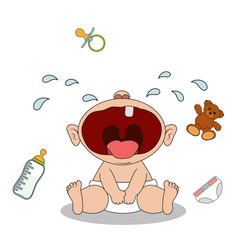 little baby boy sits and cries vector image