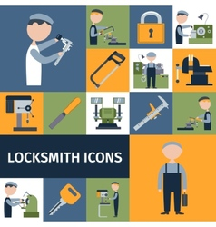 Locksmith Icons Set vector image