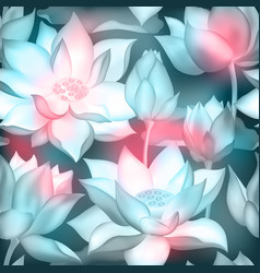 Lotus flower bouquets with buds seamless pattern vector