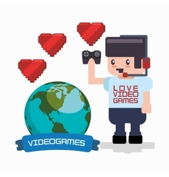 Love online games player headset gamepad hearts vector