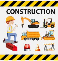 Man and construction trucks on poster vector