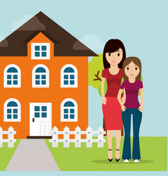Mother daughter facade house tree and fence vector