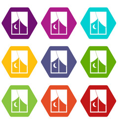 Nightly window icon set color hexahedron vector