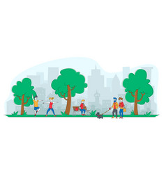 people city dwellers outdoors activity male vector image