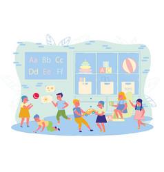 Preschool children spend time in kindergarten vector