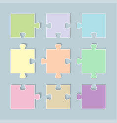 Puzzle pieces icon with paper cut style vector