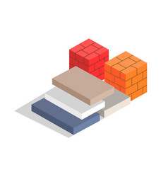 red and orange bricks varied blocks collection vector image