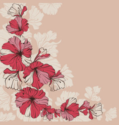 red flowers on a beige vector image