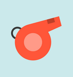 red simple whistle flat icon soccer related vector image