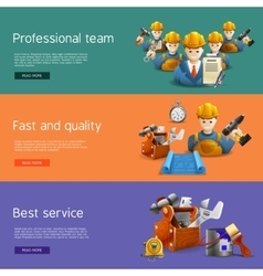Remodeling construction service flat banners set vector image