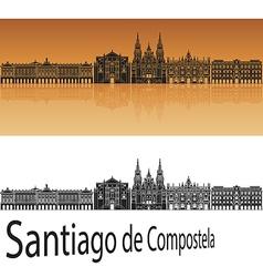 Santiago de Compostela skyline in orange vector image