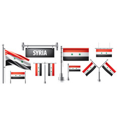 Set national flag syria vector