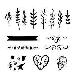 set of 15 hand drawn decorative elements vector image