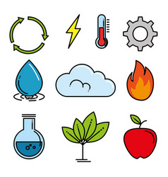 set of eco energy elements vector image