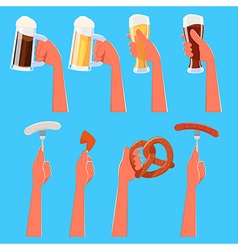 Set of Hands Holding Beer and Snacks vector