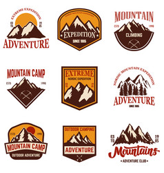 set of mountain emblems hiking tourism extreme vector image