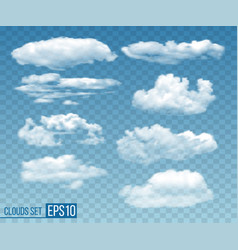 set of realistic transparent cloudsin blue sky vector image