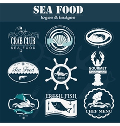 Set of vintage sea food logos logo templates and vector