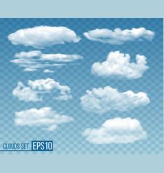 set realistic transparent cloudsin blue sky vector image
